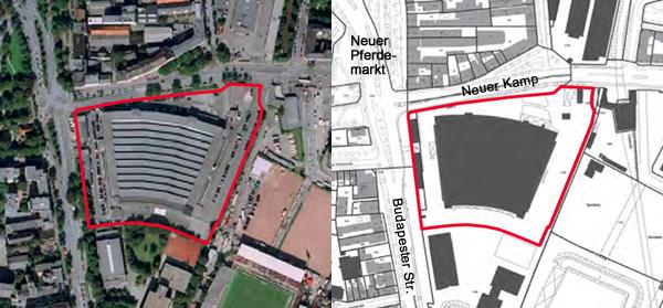 Lageplan der Alten Rindermarkthalle auf St. Pauli